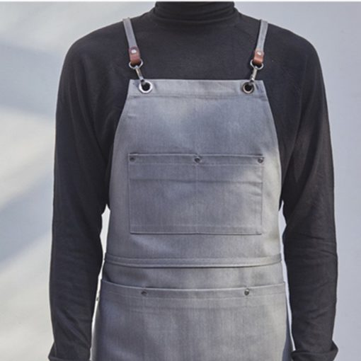 Black Gray Denim Apron Crossback Straps