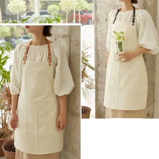4 Colors Canvas Bib Apron Leather Straps