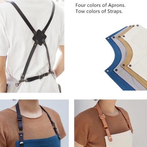 4 Colors Canvas Apron Crossback Leather Straps