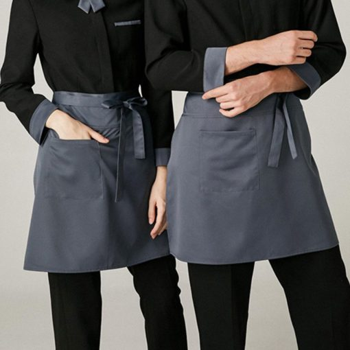 Gray Polyester Cotton Waist Apron