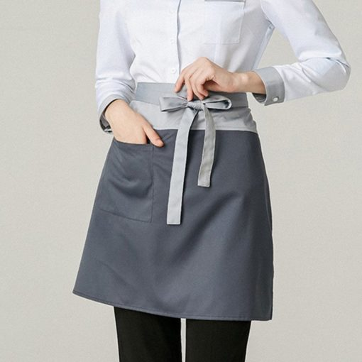 Gray Polyester Cotton Waist Apron