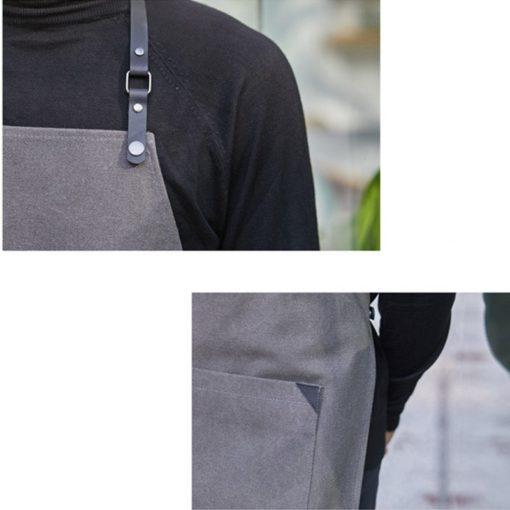 Black Gray Canvas Apron Leather Straps