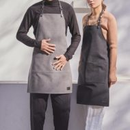 Black Gray Canvas Apron Leather Straps