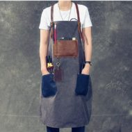 Gray Blue Canvas Apron Leather Cotton Strap