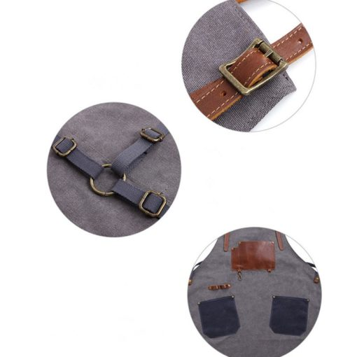 Gray Blue Canvas Apron Leather Cotton Strap