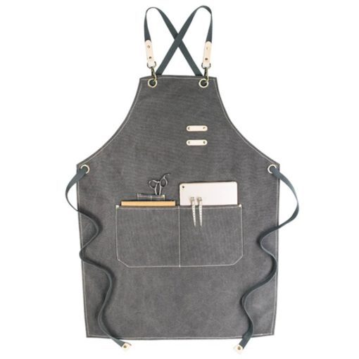 Khaki Gray Canvas Apron Crossback Straps