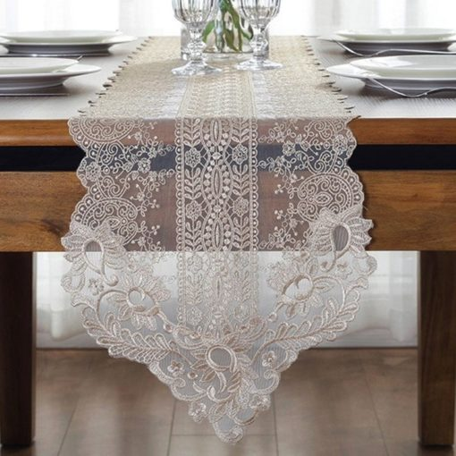 White Champagne Lace Embroidery Table Runner