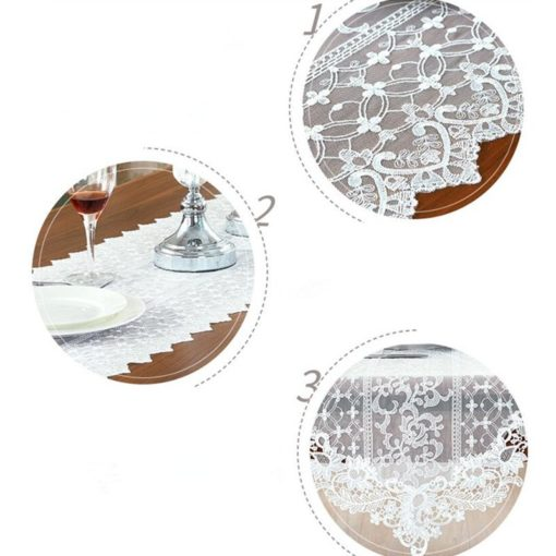 White Elegant Lace Embroidery Table Runner