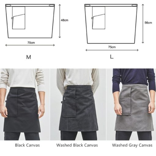 Black Gray Washed Canvas Waist Apron