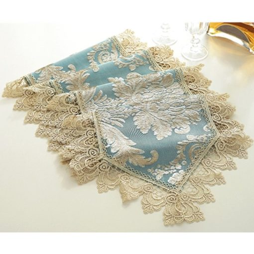 Elegant Blue Lace Embroidery Table Runner