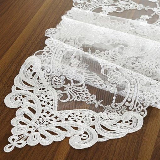 White Champagne Embroidery Lace Table Runner