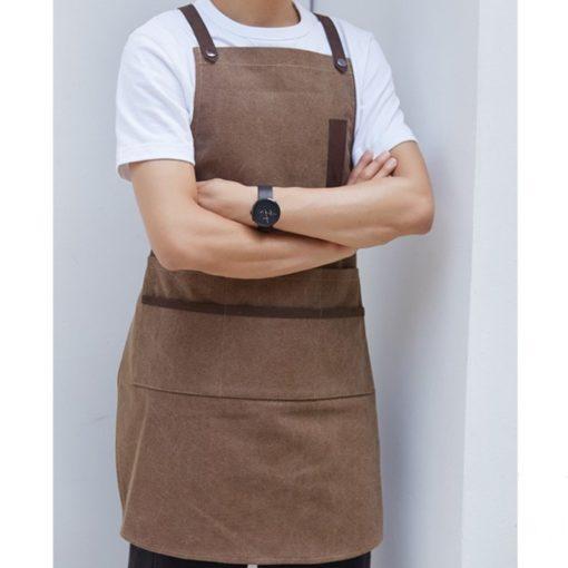 Brown Gray Canvas Apron Cotton Leather Straps