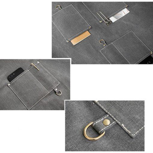 Gray Canvas Apron Crossback Cotton Strap