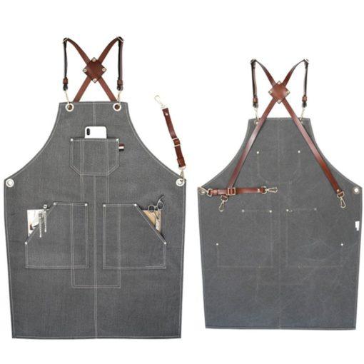 Gray Canvas Apron Cow Split Leather Straps