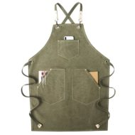 Green Khaki Gray Canvas Apron Cotton Straps