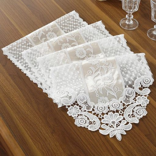 Elegant White Gray Embroidery Table Runner