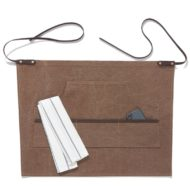 Brown Gray Canvas Waist Apron Cotton Leather Straps