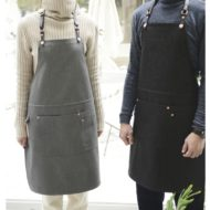 Black Gray Denim Apron Leather Straps