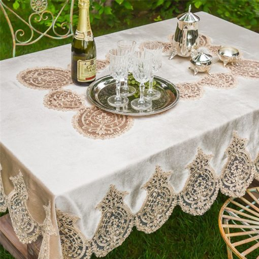 White Champagne Lace Velvet Tablecloth