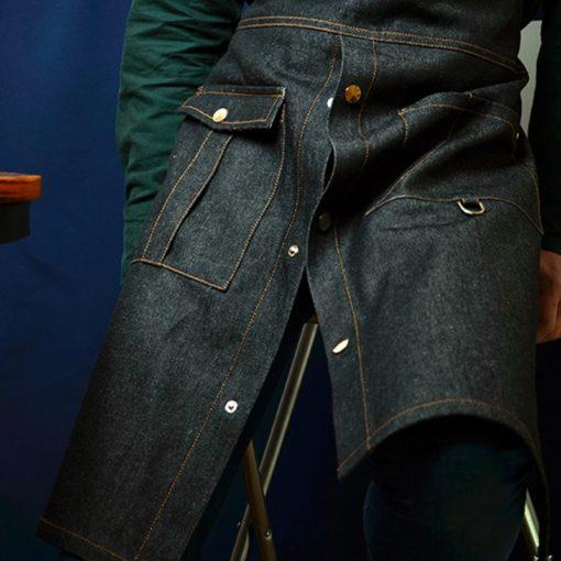 Black Denim Split Leg Apron Leather Straps