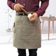 Canvas Denim Waist Apron Leather Strap