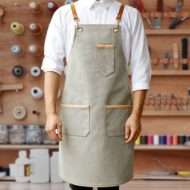 Black Denim Gray Canvas Apron Leather Straps