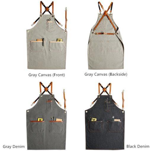 Black Denim Gray Canvas Apron Leather Straps
