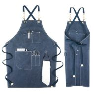 Black Blue Canvas Apron Crossback Straps