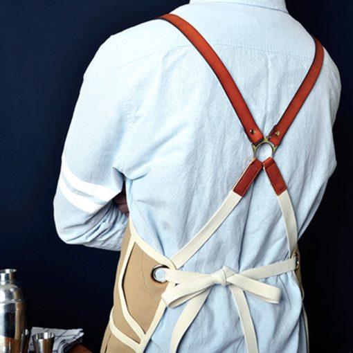 Khaki Blue Canvas Apron Cotton Leather Straps