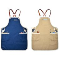Khaki Blue Canvas Apron Cotton Leather Straps