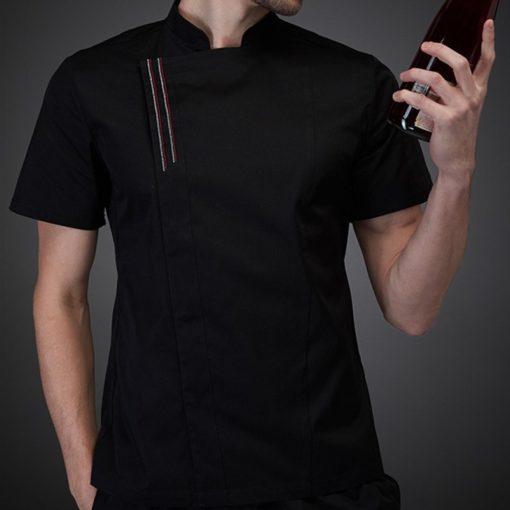 Black White Short Sleeve Summer Chef Shirt