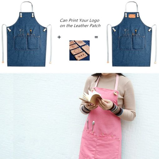 Pink Green Blue Denim Apron Canvas Straps