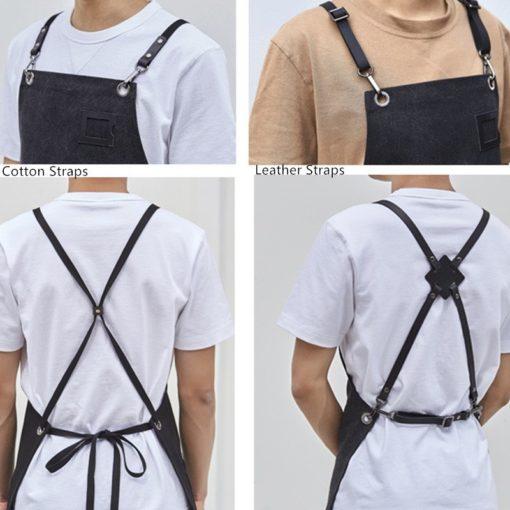 Canvas Apron Crossback Cotton Leather Straps