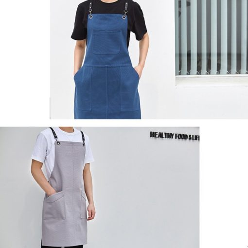Beige Blue Canvas Apron Crossback Cotton Straps