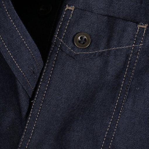 Long Sleeve Blue Polyester Cotton Waitstaff Shirt