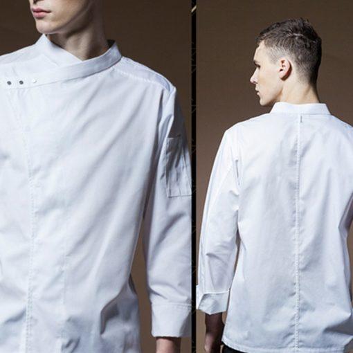 Black White Polyester Cotton Long Sleeve Chef Jacket
