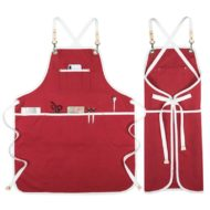 Red Khaki Canvas Apron Crossback Straps
