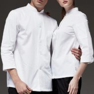 White Polyester Cotton Long Sleeve Chef Shirt