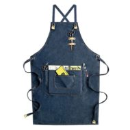 Black Gray Blue Denim Apron Crossback Straps