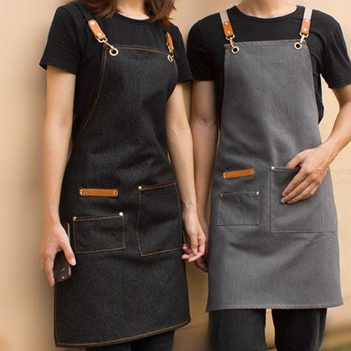 Black Gray Denim Apron Crossback Cotton Straps