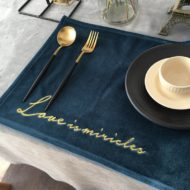 4pcs Green Pink Blue Velvet Table Placemat