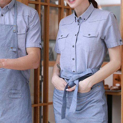 Blue Cotton Long Sleeve Staff Uniform