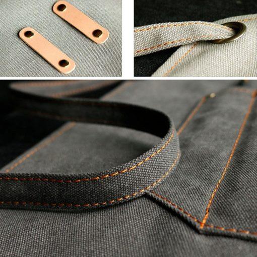 Gray Khaki Canvas Apron Crossback Straps
