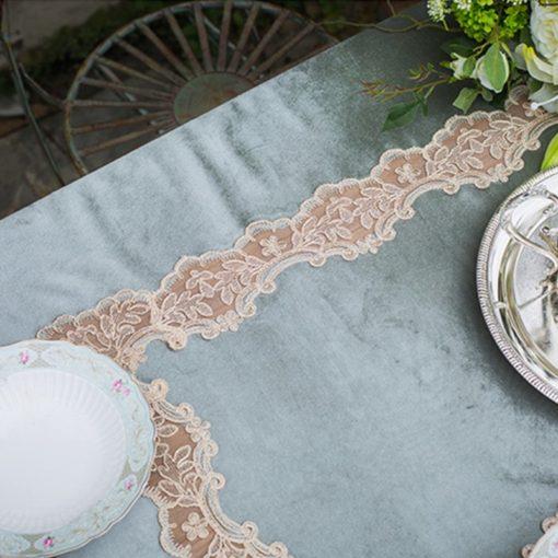 Vintage Green Beige Lace Velvet Table Cloth