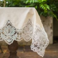 Vintage Green Beige Lace Velvet Table Cloth
