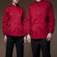 Red Black Polyester Cotton Uniform Shirt