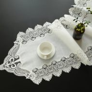 White Coffee Slub Linen Cotton Table Runner