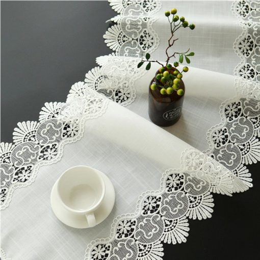 White Coffee Slub Linen Cotton Table Runner