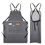 Black Gray Denim Apron Leather Cotton Straps