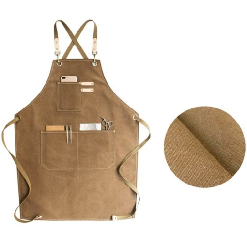 Red Khaki Gray Canvas Apron Crossback Straps